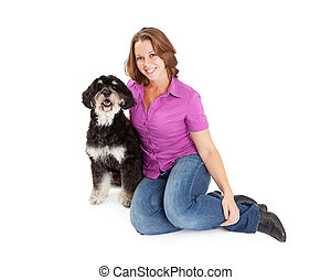 Pretty Woman With Poodle Mix Dog
