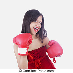woman with red boxing gloves