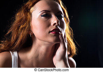 Pretty woman with red hair