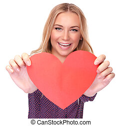 Pretty woman with red paper heart