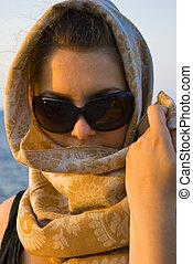 pretty woman with scarf