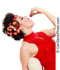 Pretty Woman With Strawberries in her Hair on White Background
