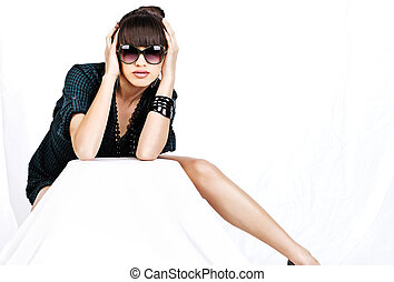 woman with sun glasses on white background
