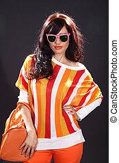 pretty woman with sunglasses