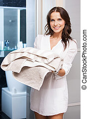 pretty woman with towels