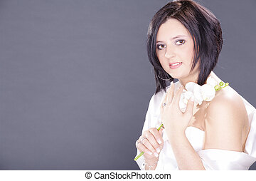 pretty woman with white orchid