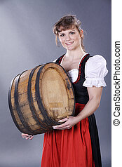 pretty woman with wine barrel