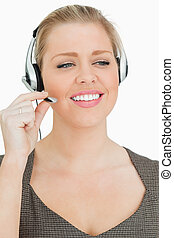 Pretty woman working in a call center