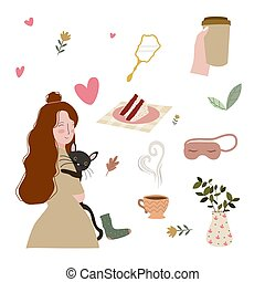 Pretty women hug cat me time concept cake coffee tea mirror heart background with flat cartoon style