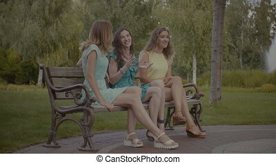 Pretty women sitting and gossiping on bench in park - Three...