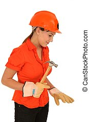 Pretty Worker with Hammer