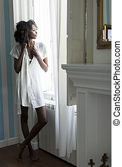Pretty young african american woman