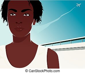 Pretty young african american woman. Vector illustration