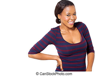young african woman standing on white background