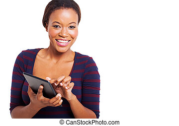 young afro american woman using tablet computer