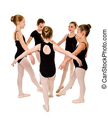 Five Pretty Young Ballerina Girl Dancers in Class