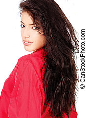 black hair woman in a red shirt