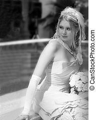 Pretty young blond bride
