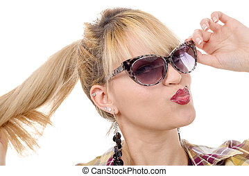 pretty young blond woman with sunglasses