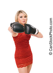 Pretty young blonde in boxing gloves