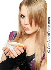 Pretty young blonde with a cup
