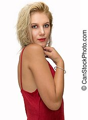 pretty young blonde woman with a red dress on white background