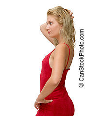 pretty young blonde woman with a red dress on white