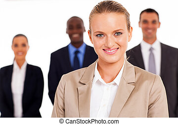 businesswoman in front of colleagues