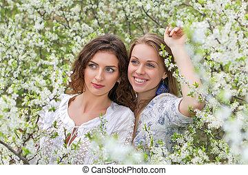 Pretty young caucasian women