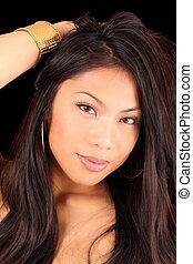 Pretty young dark hair woman portrait beauty