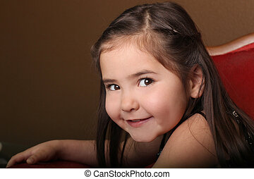Pretty Young Female Child With Beautiful Eyes