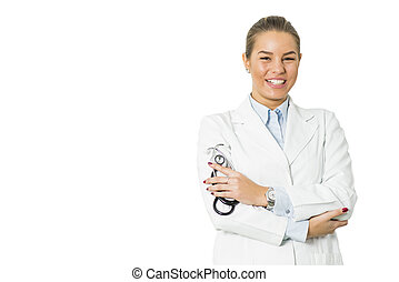 Pretty young female doctor on the white background