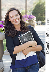 Pretty Young Female Student Portrait on Campus
