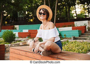 Pretty young girl dressed in summer clothes