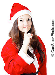 pretty young girl in a silence Santa costume