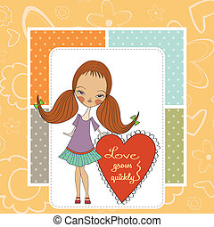 pretty young girl in love, valentine's day card