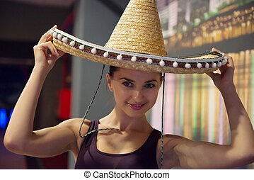 Pretty young girl in sombrero