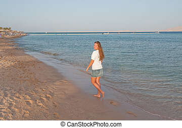 pretty young girl on the beach