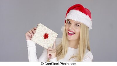 Pretty young girl posing with chrismas present