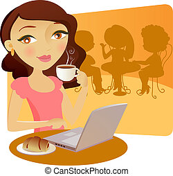 Pretty young girl taking coffe