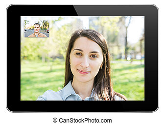 Video Call On Modern Black Tablet