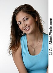 girl wearing braces - Pretty young girl wearing braces
