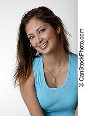 girl wearing braces - Pretty young girl wearing braces