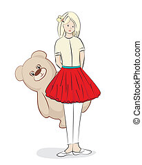 Pretty young girl with a teddy bear