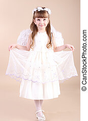 pretty young girl with angel white wings