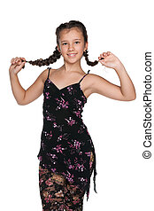 Pretty young girl with pigtails