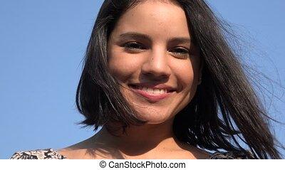 Pretty Young Hispanic Woman Smiling