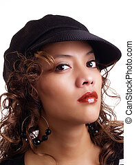 Pretty young hispanic woman wearing black hat