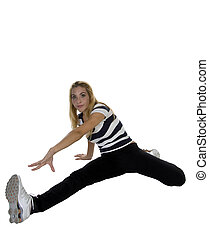pretty young lady exercising