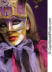 pretty young lady in violet half mask